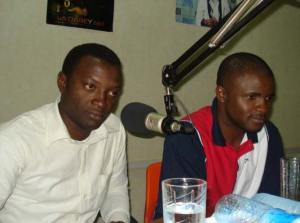 International medical student representative, Agyeno Ehase on left with radio show co-organizer, Onazi Ogebe.