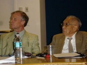 Dr. Yamazaki with Peter Herby (left) of the ICRC at the 2010 NPT Review