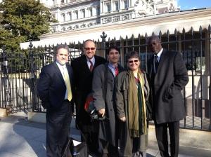 (L-R) Ray Offenheiser, President, Oxfam America; Galen Carey, National Association of Evangelicals; Frank Jannuzi, Deputy Executive Director Amnesty International USA; Dr. Thomasson; and actor Djimon Hounsou