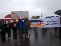 IPPNW gathered outside the headquarters of Heckler & Koch in Oberndorf, Germany to protest the global arms trade. (L to R: Carole Wigg, Vappu Taipale, Ilkka Taipale, Tilman Ruff, Bjorn Hilt)