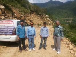 Arun Mitra (right) led an IDPD team to flood-ravaged Uttrakhand