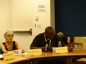 Dr. Adebayo Owoeye speaks about how the arms trade is contributing to terrorism in Nigeria at a panel hosted by the Nigerian Mission to the UN (speaker Dr. Cathey Falvo is at left).