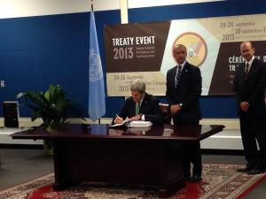 Secretary of State John Kerry today signed the UN Arms Trade Treaty (Photo: Hayes Brown, ThinkProgress.)