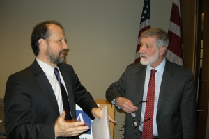 Ira Helfand (right) and Arms Control Association executive director Daryl Kimball, who moderated the panel discussion.