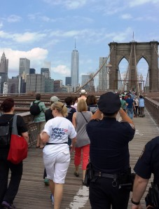 1000 people march across the Brooklyn Bridge to protest gun violence.