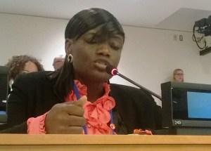 Dr. Omolade Oladejo addresses delegates at the UN PoA MGE2