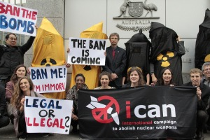 ICAN protest in front of Australian embassy during the OEWG. Photo: ICAN
