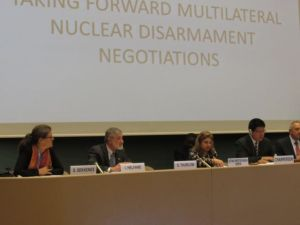 IPPNW co-president Ira Helfand (left) addresses the Open-Ended Working Group