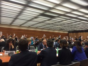 Majority vote for OEWG report recommending commencement of negotiations on a ban treaty.